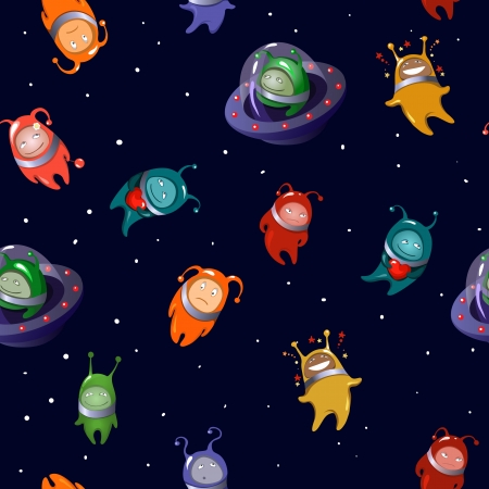 Seamless background  aliens  in a cartoon style Vector