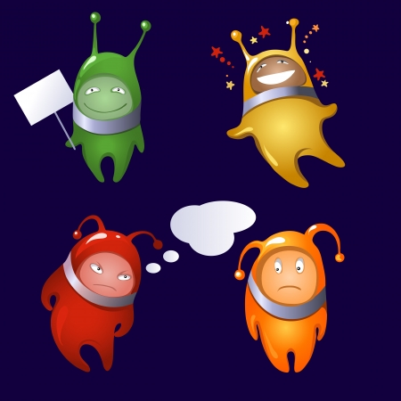 A set of colorful cartoon aliens depicting various emotions  Part 1