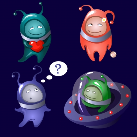 A set of colorful cartoon aliens depicting various emotions  Part 2  Ilustracja