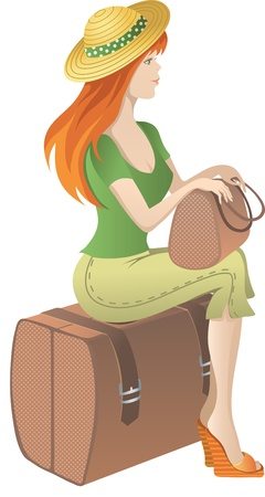 Slim redhead girl with a bag in his hand sitting on a suitcase