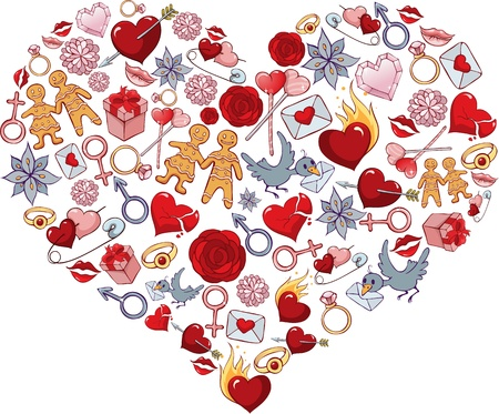 Heart, consisting of a number of individual objects Stock Vector - 17309248