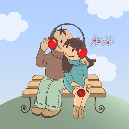 Loving couple sitting on a bench and listen to music Vector