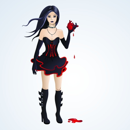 goth girl: Beautiful coth girl holding a bleeding heart