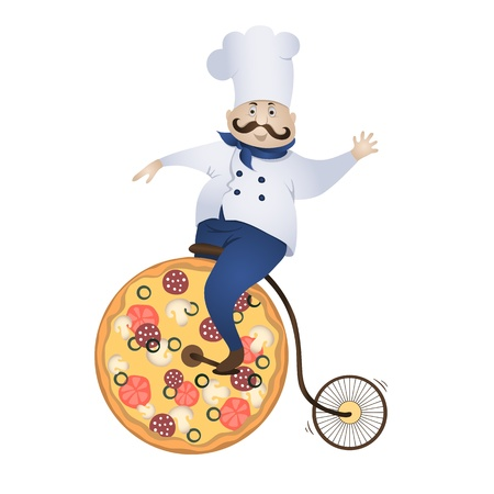 Delivery pizza chef rides a bicycle wheel which - is pizza Vector