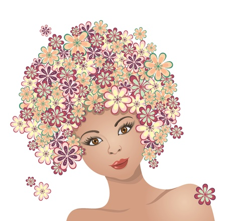 The girl with hair of flowers Çizim