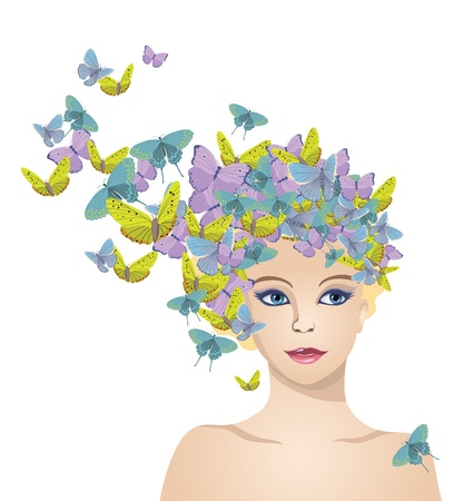 The girl with hair of butterflies Stock Vector - 17731985