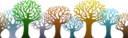 Íîrizontal pattern of colorful trees Illustration