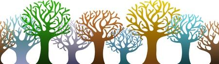 ��rizontal pattern of colorful trees Illustration