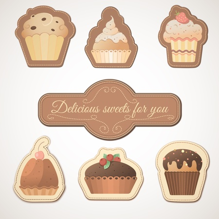 Delicious sweets  a set of cards with muffins