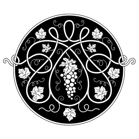 Black-and-white round decorative element with a vine Illustration