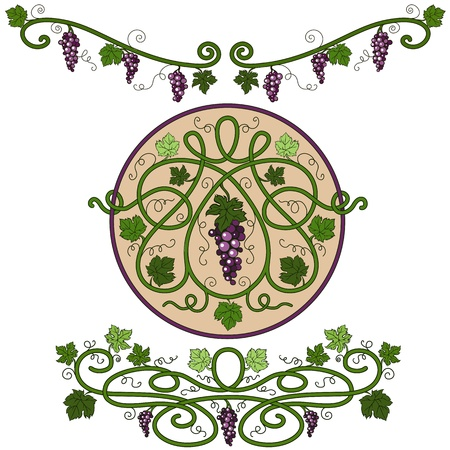 Colored decorative elements with a vine