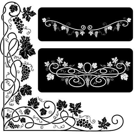 black grape: Black-and-white decorative elements with a vine