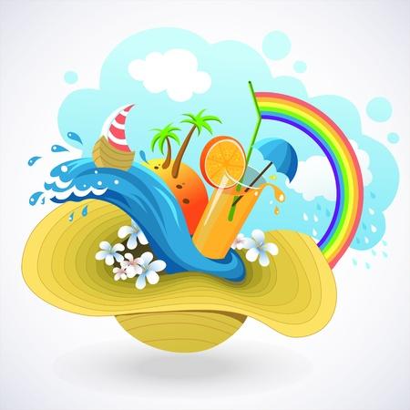 SummA vivid illustration of a cartoon style  about summer and beach holidayser time Stock Vector - 19236559