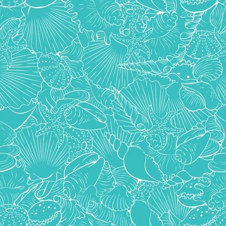 Seamless pattern of fine sea shells