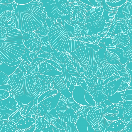 scallops: Seamless pattern of fine sea shells