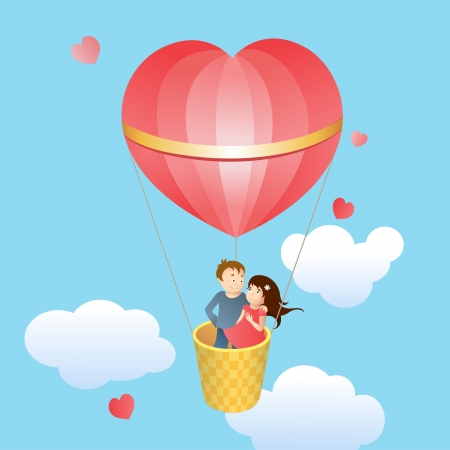Happy lovers in a balloon in the shape of heart Stock Vector - 19422118