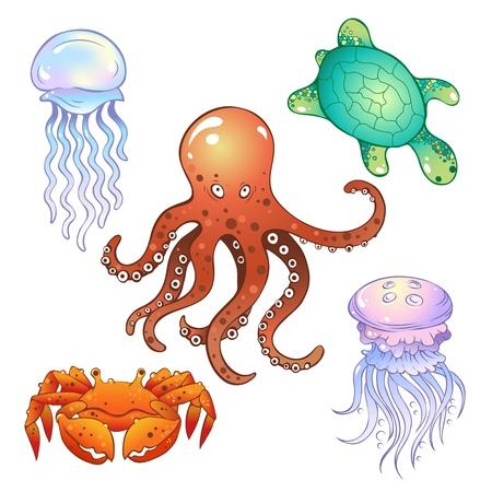 Set of illustrations in a cartoon style  marine inhabitants
