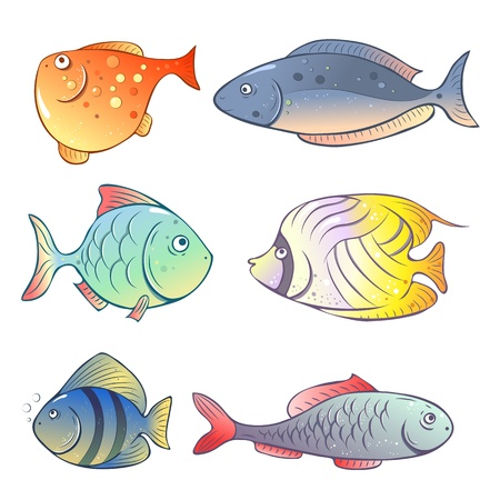 Set of illustrations in a cartoon style  bright fish