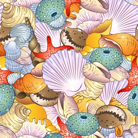 Bright seamless pattern with sea shells