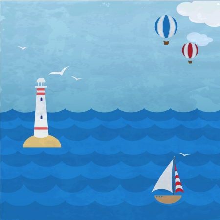 Marine grunge  backround with ship, lighthouse and balloons