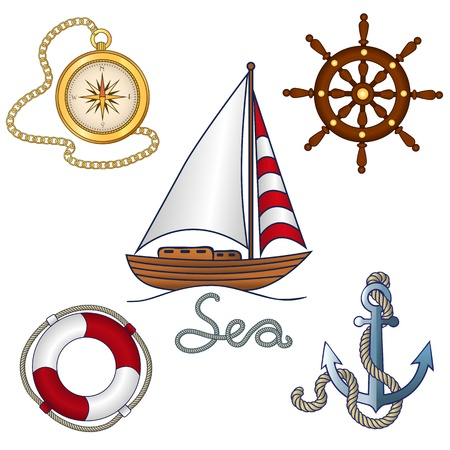 Set of nautical objekts ina cartoon style Vector