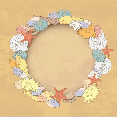 decorative frame in pastel colors with the image of sea shells and place for text Vector