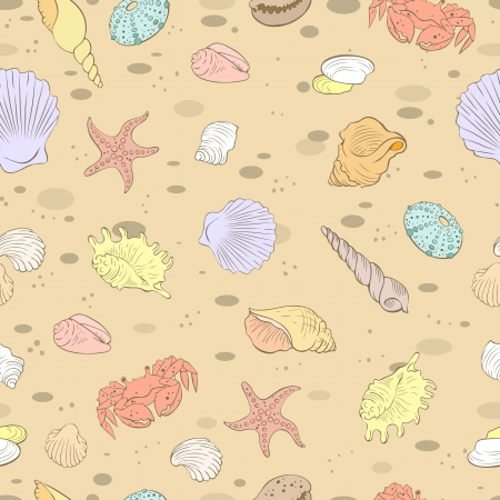 Seamless vector background in pastel colors with the image of sea shells