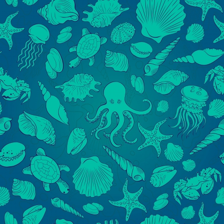 Seamless vector background in cold colors with the image of sea shells