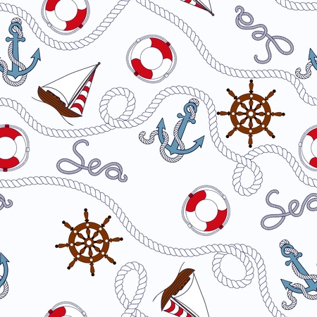 White marine seamless pattern with nautical objekts Vector