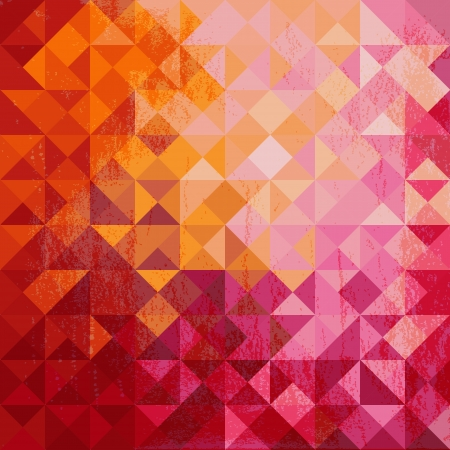 Geometric background of colored triangle in warm colors with grunge texture
