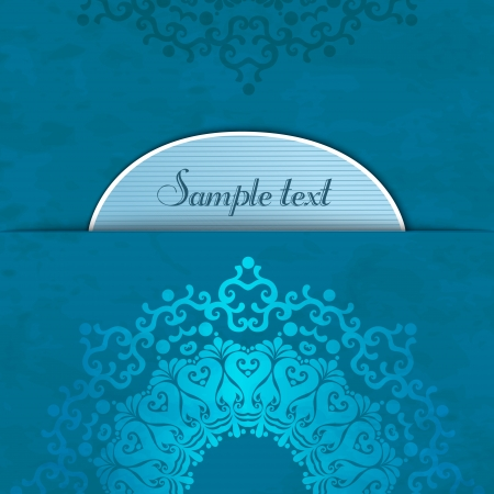Round lace pattern element in blue tones with place for text