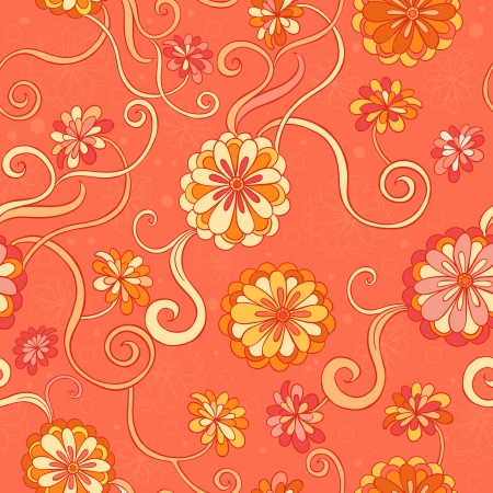Seamless background with stylized  flowers in warm colors
