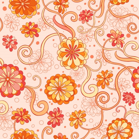 Seamless background with stylized  flowers in warm colors Stock Vector - 22736049