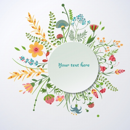 Floral  background  in a cartoon style Stock Vector - 22736056