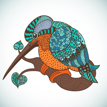 animal themes: Vector illustration : decorative colored bird Illustration