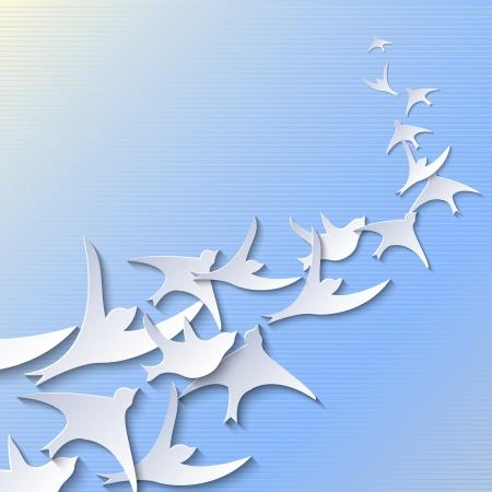 pajaros volando: Fondo simple con la que vuelan los p�jaros de papel Vectores