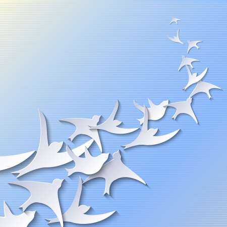 flying bird: Simple background with flying paper birds