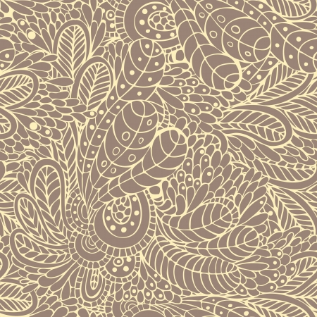 Seamless background with stylized of leaves and flowers Illustration