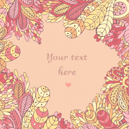 Romantic background with stylized of leaves and flowers