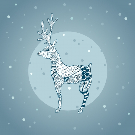 Decorative deer image formed in graphic style Illustration
