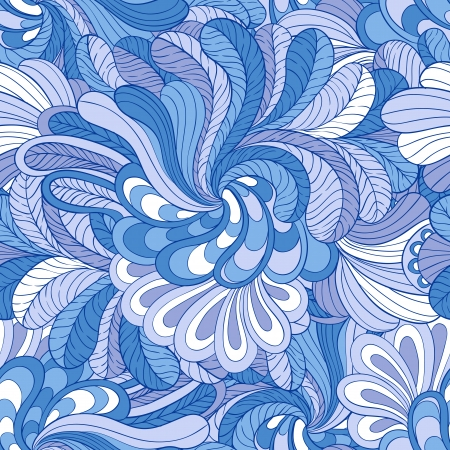 Seamless background with stylized of leaves and flowers in blue colors Illustration