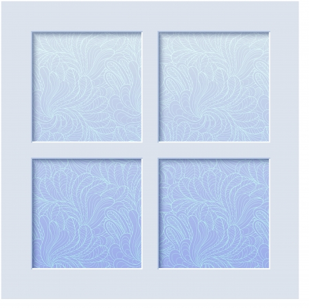 Winter background  of frozen window Illustration