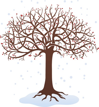 Winter tree on a white background