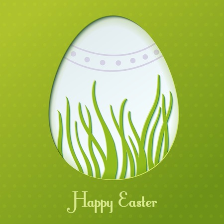 Easter  card with egg and grass
