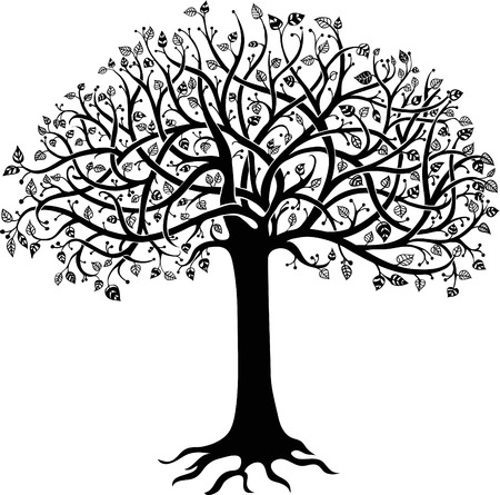 tree of life silhouette: Black silhouette of a tree on a white background