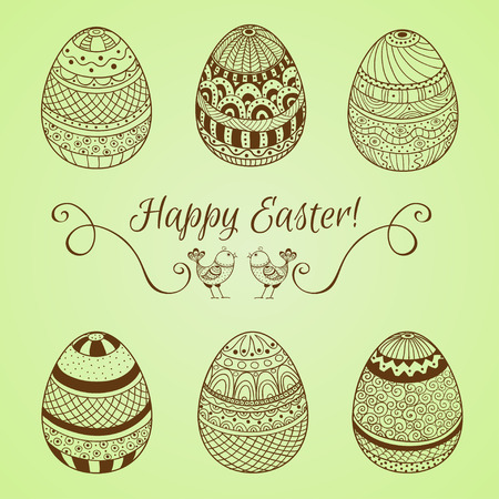 Set of easter eggs on a green background Illustration