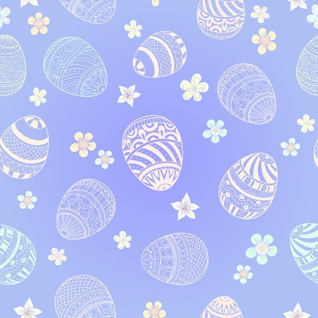 Easter seamless  background with eggs and  flowers