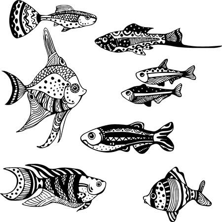 clima tropical: Conjunto de peces de acuario estilizada, pintado a mano