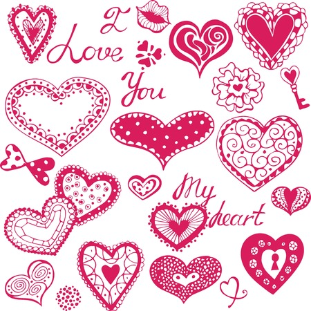 Set of pink drawing hearts Illustration