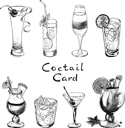 A set of hand-drawn sketches with cocktails